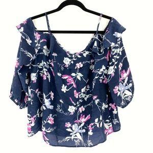 Joie Women's Blue Floral Birtha Cold Shoulder Silk